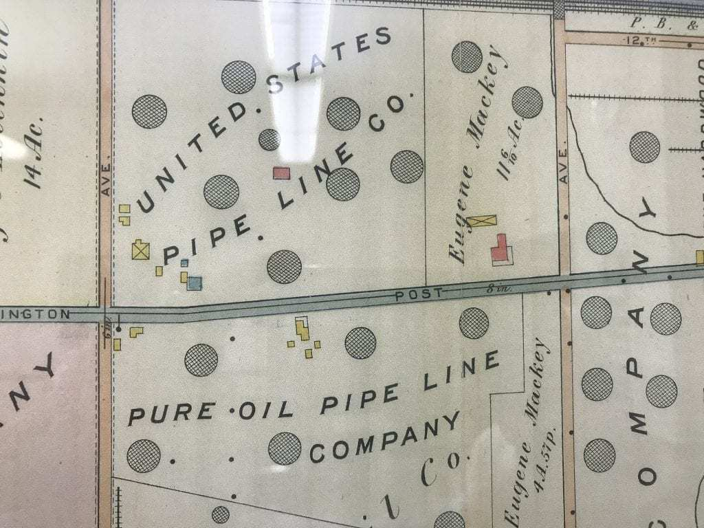 Detail of 1915 map of Marcus Hook shows pipelines. PHOTO BY MEG MCGUIRE