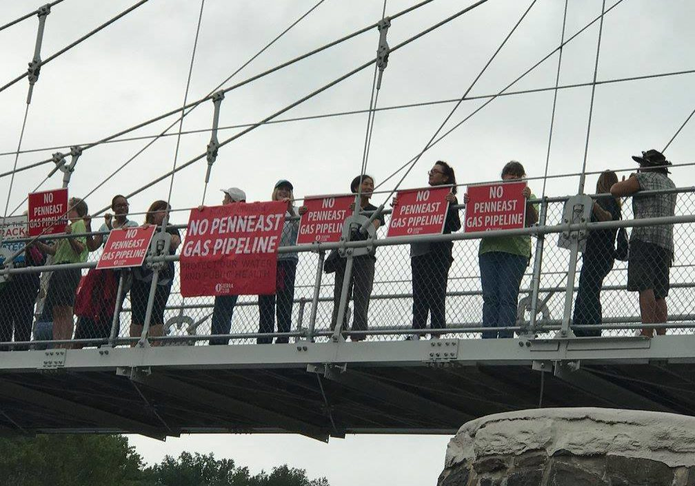 PennEast pipeline protestors gather on the pedestrian bridge over the Delaware River from Lumberville, Pa., to Raven Rock, N.J.