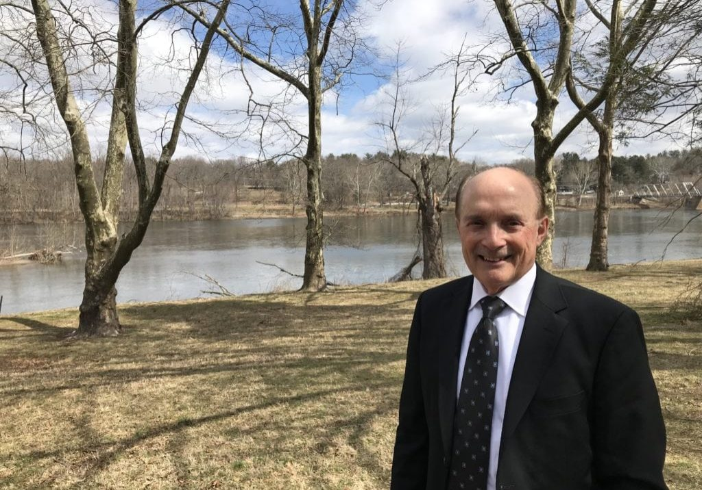 Dr. Tom Fikslin on the banks of the Delaware River at Washington Crossing, Pa