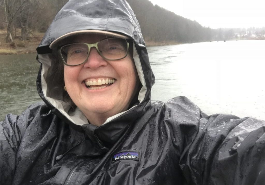 Looking a bit crazed, but happy -- this is yours truly on the Upper Delaware.