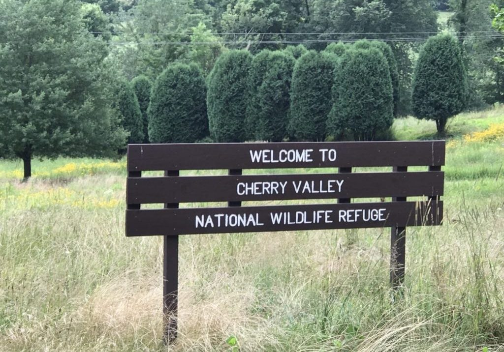 The welcome sign for the growing conservation effort in Cherry Valley, Monroe County, Pa., which is being helped by the Land and Water Conservation Fund. PHOTO BY MEG MCGUIRE