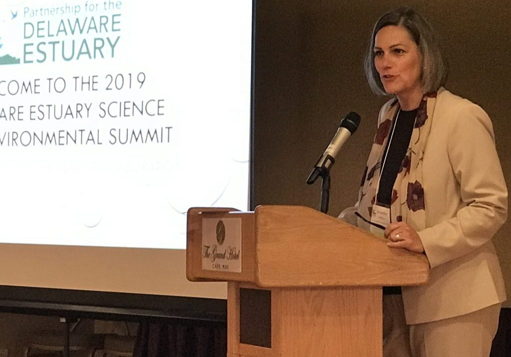 Jennifer Adkins, executive director of the Partner for the Delaware Estuary, welcomes all to the 2019 Science Summit. PHOTO BY MEG MCGUIRE