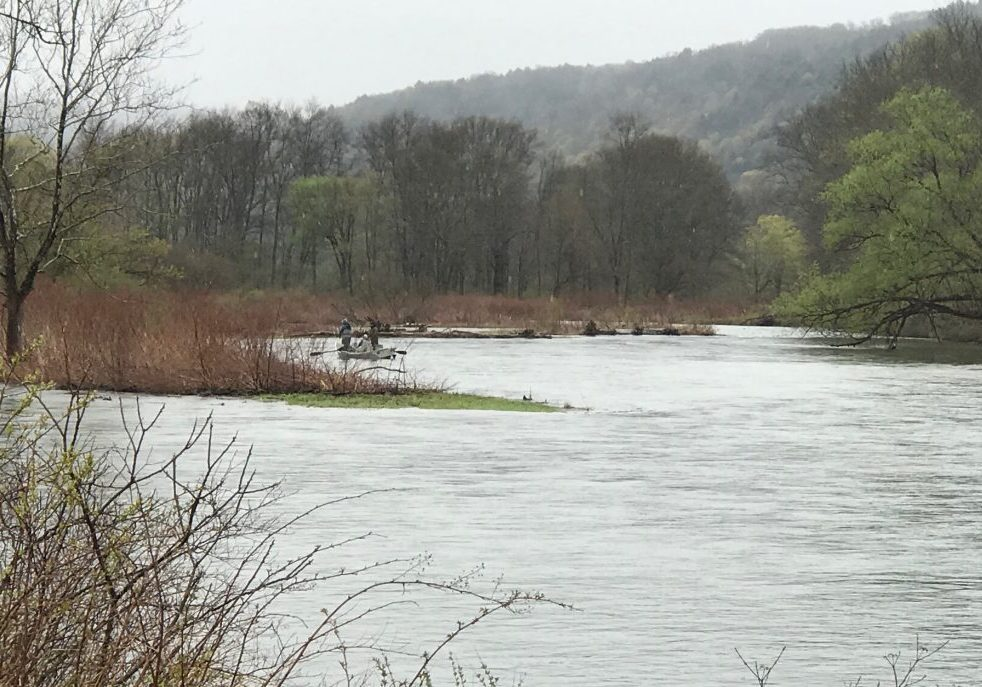 West Branch of the Delaware, you can just catch sight of one of the One Bug drift boats as the river takes it quickly downstream. PHOTO BY MEG MCGUIRE