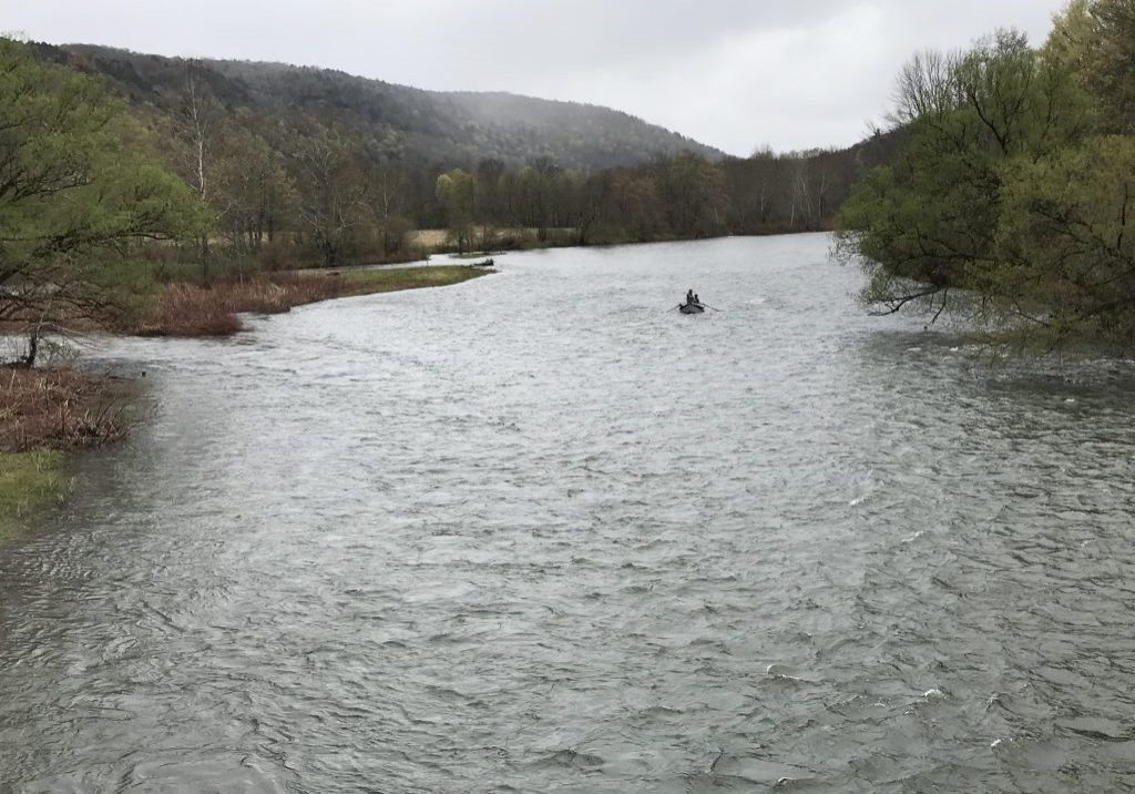 Irrepressible anglers on a rainy April day, fishing on the West Branch of the Delaware River.PHOTO BY MEG MCGUIRE