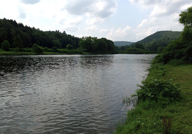 Looking upriver at the birthplace of the Delaware River in Hancock, NY, where the East and West branches of the river meet. PHOTO BY MEG McGUIRE