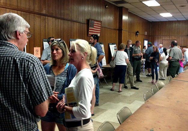 People interested in the future of the Delaware Water Gap National Recreation Area gathered at the Matamoras, Pa., firehouse on Friday, Sept. 11, to talk with representatives of the park at one of three public scoping sessions on the Visitor Use Management Plan. Below, the George W. Childs Park, one of the popular sites in the Delaware Water Gap National Recreation Area that saw stress from heavy use during this past summer's weekends. PHOTOS BY MEG McGUIRE