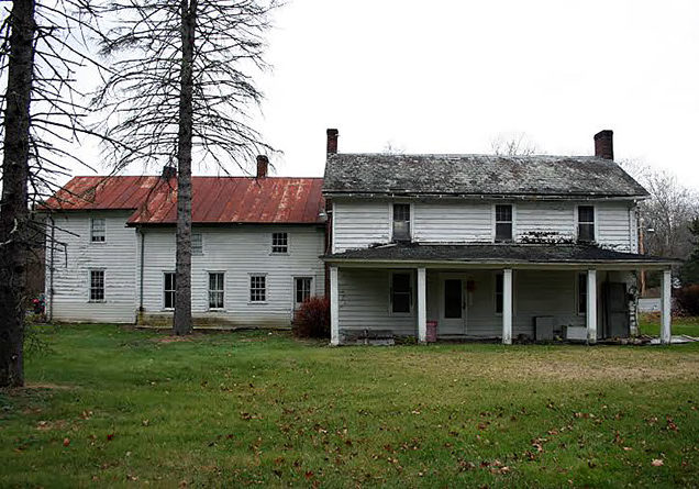 Peters House at the intersection of Route 209 and Bushkill Falls Road in Bushkill, Penn., is one of the historic properties emptied by the never-completed Ticks Island Dam project. Part of the house dates to the middle of the 18th century. The National Parks Service recently completed stabilization work on the building to prevent further deterioration while plans are developed for all the properties in the Delaware Water Gap National Recreation Area. PHOTO PROVIDED