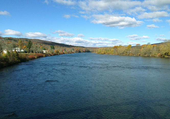 The Delaware Riverlooking upstream from Port Jervis, New York.MEG McGUIRE PHOTO
